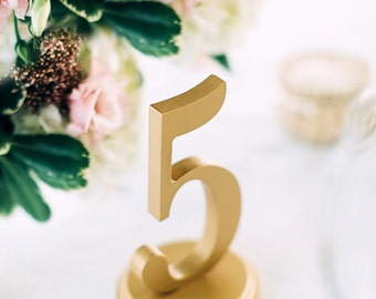 Table Numbers for Weddings and Events Wedding Decor for Wedding, Gold or Custom Table Numbers, Wedding Signs Set of 1-25  (Item - NUM125)