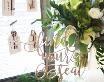 """Standing Seating Card Table Sign """"find your seat"""" DIY or Custom Painted Wedding or Party Table Decor Reception Signs (Item - LFS150)"""