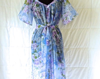 vintage sheer floral nightgown - 1950s-60s periwinkle/blue lingerie gown