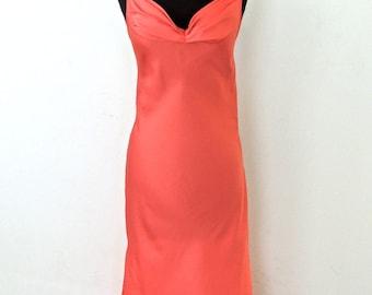 SALE vintage salmon silk dress - 1950s-60s Burt Yelin silk designer evening gown