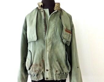 SALE vintage Wrangler jacket - 1970s olive leather-collar twill coat