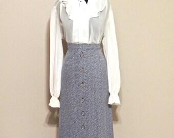 SALE vintage knit skirt set - 1960s Sir Gal blue maxi skirt/white ruffled top set
