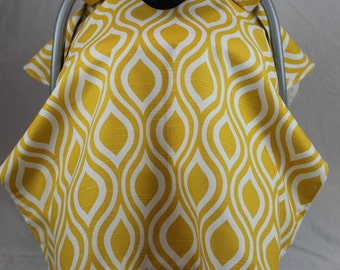 Yellow and white car seat canopy cover