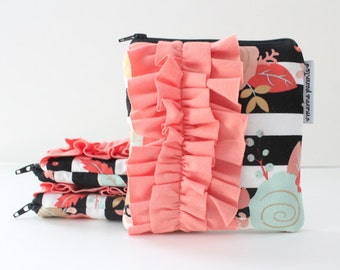 square ruffle zipper pouch -- striped floral