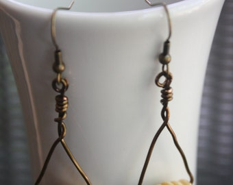 Alannis - Light Wood Bead and Copper Drop Earrings