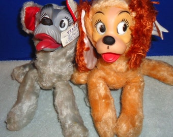 Vintage Lady & The Tramp - Walt Disney Prod. Gund / Swedlin - Rubber Face with Sani-Foam Rubber Stuffed Body - Plush with Tush Tags