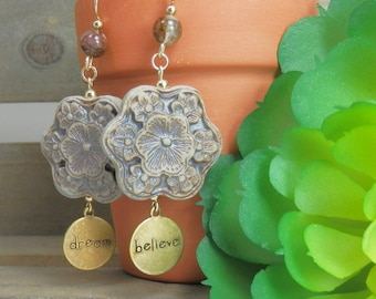 Earthtone Ceramic Flower Dream and Believe Earrings
