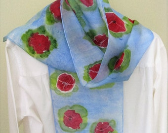 Hand painted silk scarf red poppies soft blue green 8x54 long Canada made design