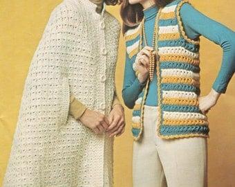 vintage crochet pattern broomstick broom stick lace cape shawl button coat wrap bundle set vest printable pdf electronic download epub 1950