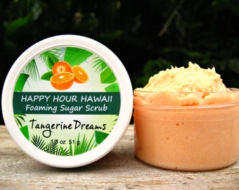 Tangerine Sugar Scrub, Mini Favor, Foaming Whipped Soap, Hawaiian Favor, Luau Favor, Bridesmaid Gift, Baby Shower Favor. 1.8 oz (51 g).