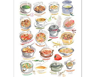 Soups & Stews from around the world, Worldwide foods, Watercolor painting, World art, Colorful home decor, Kitchen wall art, Food poster