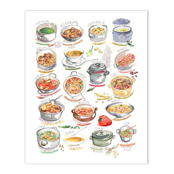 Soups Stews From Around The World Worldwide Foods Watercolor Painting World Art