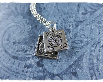 Silver Pizza Box Necklace - Antique Pewter Pizza Box Charm on a Delicate Silver Plated Cable Chain or Charm Only