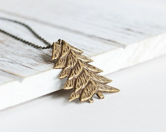 Pine Tree Necklace - Antiqued Brass Pendant Necklace, Tree Pendant, Brass Necklace, Woodland Necklace, Rustic Jewelry, Winter Jewelry