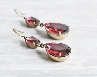 Wine Teardrop Earrings - Burgundy Earrings, Rhinestone Drop Earrings on Antiqued Brass Hooks, Maroon Dangle Earrings, Prom Jewelry
