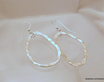 Organic Fine Silver Hammered Earrings - Hand Fired and Forged