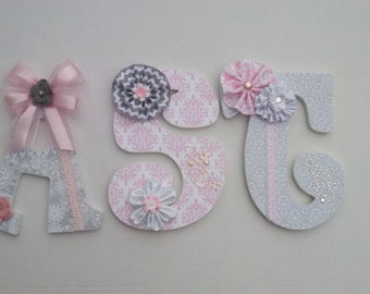 Embellished decorative Nursery letters, decorative custom wood letters, nursery decor, letters, custom wall letters