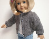 GRAY CASHMERE SWEATER Molly or Emily 18 inch doll clothes
