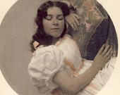Pretty Young Victorian Woman in REPOSE as She Lays Her HEAD On a PILLOW in Stylish Photo Circa 1900