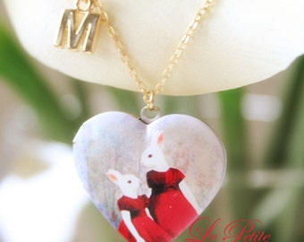 Mother's love with initial pictures Locket necklace