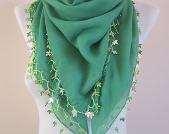 Fabric Shawl, Green Crochet  Scarves, Beaded Scarf, Cotton Scarf, Boho Accessories, Turkish Oya, Traditional Yemeni, Crocheted Lace Bandana