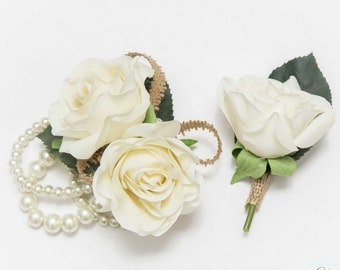 Petite Rose Wrist Corsage & Boutonniere Set, burlap, pearls, Ruch, Cream White / Ivory Coral Peach Pink Red Fuchsia Pink Blue Purpleeal To