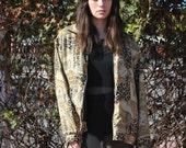 Vintage Silk Bomber 80s Minimalist Silk Windbreaker Coat Light Jacket Leopard Animal Print Coat S M L