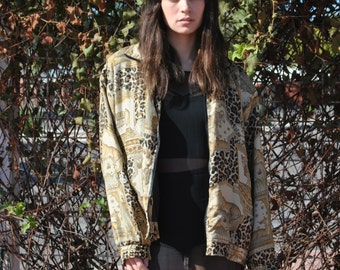 Vintage Silk Bomber 80s Minimalist Silk Windbreaker Coat Light Jacket Leopard Animal Print Coat S M L