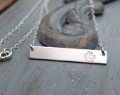 Sterling Silver Paw Print Bar Necklace. Hand Stamped Jewelry.  Minimalist, Engraved Necklace.  Layering Bar Necklace, Dog Jewelry, Pet Lover
