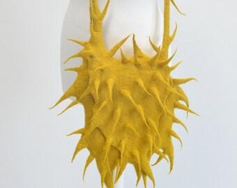 Felted yellow mustard cactus messenger felt handbag wool bag grass Terrific Fashion Regina Doseth handmade Lithuania EU