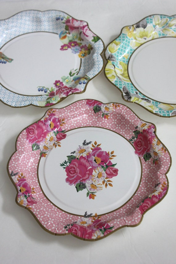 Sale 12 FLORAL TEA PARTY Large Paper Plates Parisian Vintage Style Shabby Chic Garden Tea Time Mint Green Pink Yellow Blue Rose French Paris & Sale 12 FLORAL TEA PARTY Large Paper Plates Parisian Vintage Style ...