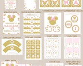 Minnie Mouse Birthday Party Decoration Printables and Invitation Package 2, Printable Party Decorations, Pink, Gold Glitter, Printable PDFs