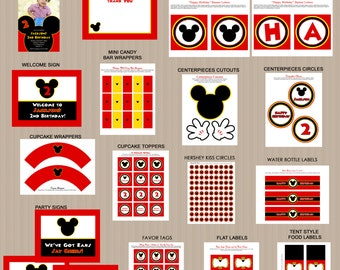 Mickey Mouse Bithday Party Printables 2, Printable Mickey Mouse Decorations, Red, Black, Invitation Included, Printable PDFs