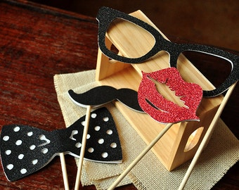 Photo Booth Props for a Birthday Party.  Handcrafted in 2-3 Business Days.  Set of 4 Props.  Glasses, Mustache, Lips, Bowtie.
