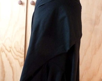 Black Cotton Spandex Skirt with drape front and raw edge/made to order by Cheryl Johnston