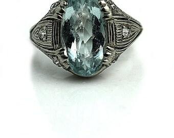 Antique Aquamarine Engagement Ring Art Deco 3.55ctw Oval Shape Unique Gemstone Aquamarine Ring Platinum Vintage Aquamarine Alternative Ring