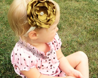 Baby Girl Gold Headband Toddler Flower Headband, Gold Flower Headband Baby Gold Headband, Large Flower Headband, Big Flower Headband Gold