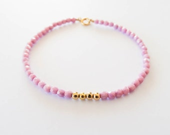 Pink and Gold Beaded Bracelet | Glass and Gold Filled Beads | Stacking Bracelet | Aura