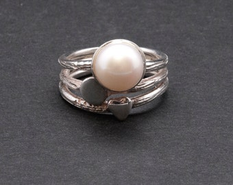 White Pearl Ring, Stacking 925 Silver Natural Pearl Ring, June Birthstone Ring, Pearl Wedding/Anniversary, Elegant Ring, White Pearl Jewelry