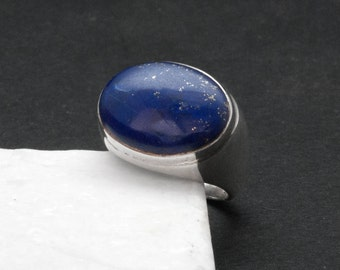 Lapis Lazuli Ring, Big Blue Gemstone Sterling Silver Ring, Contemporary Blue Lapis Ring, Everyday Blue Ring, Natural Lapis Lazuli Jewelry