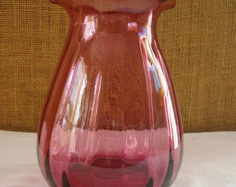 VINTAGE CRANBERRY GLASS Vase Hand Blown Cranberry Glass Vase Ruffle Top Hand Blow Cranberry Glass Vase Holiday Decor Line Pattern Cranberry