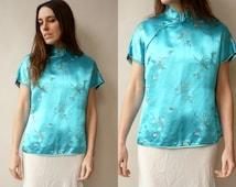 1960's Vintage Oriental Floral Satin Blouse Top Size M/L