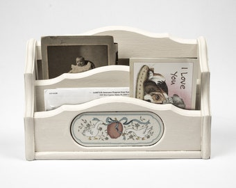 Mail Letter Holder Desktop Decor or Hanging / Marmalade China Pattern / Hand Painted Oyster White