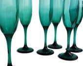 4 Tall Vintage Fluted Champagne Glasses Teal Champagne Flutes Teal Wedding Toasting Glasses Toasting Flutes Libbey Juniper Teardrop