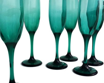 4 Tall Vintage Fluted Champagne Glasses Teal Champagne Flutes Teal Wedding Toasting Glasses Toasting Flutes Libbey Juniper Teardrop