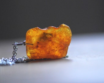 Amber Necklace - Raw Amber piece on Silver colour chain Unisex Amber talisman Necklace