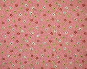 Fat Quarter, Country Pink Floral Print, Quilting Cotton Fabric, Tiny Red White Flowers, 28 x 19, B44