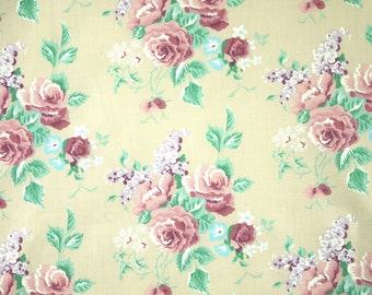 1 YARD, Almond Pink Purple Bouquets Floral Print, Quilting Cotton Fabric, Roses Lilacs Flowers, Green Leaves, B23