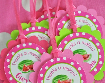 Watermelon Party Favor Tags, Thank You Tags, Party Favors, Girls Birthday Party Decorations, 1st Birthday Favors - Set of 12