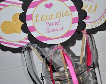 Bridal Shower Centerpiece Sticks, Bachelorette Party, Wedding Decorations, Engagement Party, Pink, Black and Gold Heart - Set of 3